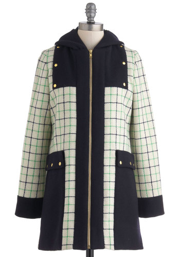 Lauren Moffatt Say You Willow Coat by Lauren Moffatt - Green, Blue, Pockets, Long Sleeve, Tan / Cream, Plaid, Exposed zipper, Winter, Long, Mint, 3