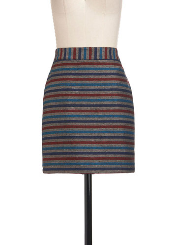Rules of the Trade Skirt by Tulle Clothing - Short, Stripes, Pockets, Casual, Fall, Multi, Blue, Grey