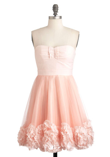 Pink Grapefruit Martini Dress - Short, Pink, Pink, Solid, Pleats, Ruffles, Special Occasion, Prom, Party, Vintage Inspired, 50s, Luxe, Spaghetti Straps, Fit & Flare, Fairytale