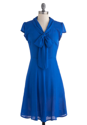 Take Home the Bold Dress - Mid-length, Blue, Blue, Solid, Work, Vintage Inspired, Shirt Dress, Short Sleeves, Tie Neck