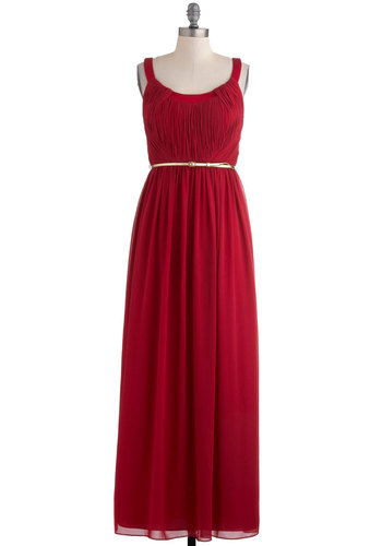 Fall in Love with Me Dress - Red, Maxi, Sleeveless, Belted, Solid, Ruching, Special Occasion, Prom, Wedding, Long, Exclusives, Holiday Party, Bridesmaid, Fall