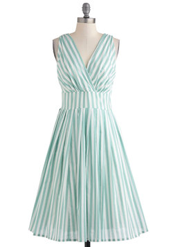 Glamour Power to You Dress in Spearmint Stripe