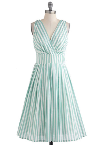 Glamour Power to You Dress in Spearmint Stripe - Green, White, Stripes, Pleats, Casual, A-line, Sleeveless, Summer, Vintage Inspired, Daytime Party, Pastel, Cotton, Long