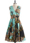 Glamour Power to You Dress in Woodland Garden - Multi, Yellow, Green, Blue, Pink, Floral, Pleats, Sleeveless, Fit & Flare, Long, Daytime Party, V Neck