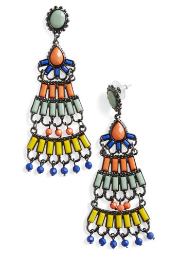 Tapas Tonight Earrings - Multi, Orange, Yellow, Green, Rhinestones, Party, Statement, Vintage Inspired, Press Placement