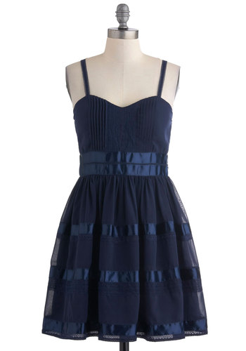 Moonlight Charisma Dress - Short, Blue, Solid, Tiered, Trim, Party, Vintage Inspired, A-line, Spaghetti Straps, Fit & Flare, Sweetheart, Prom