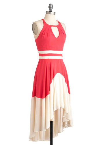 Off to the Graces Dress - Mid-length, White, Cutout, Casual, Sleeveless, Summer, High-Low Hem, Colorblocking, Pink, Coral