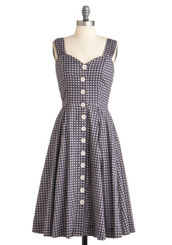 Brunch with Buds Dress in Stars by Emily and Fin - Long, Blue, White, Casual, Vintage Inspired, 50s, A-line, Cotton, Buttons, Pockets, Tank top (2 thick straps), Holiday Sale, Button Down, Daytime Party, Sweetheart, International Designer, Variation