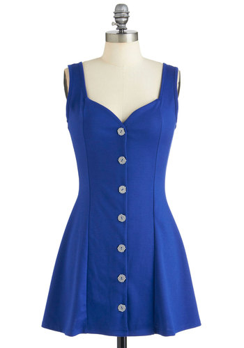 Guggenheim Chic Dress - Blue, Solid, Buttons, Cutout, Casual, Mini, Tank top (2 thick straps), Summer, Short, Nautical, Pinup