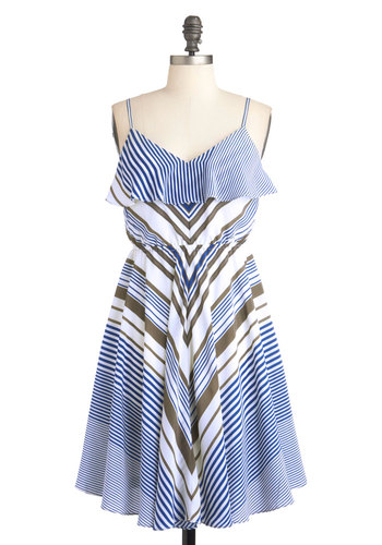 Sailboat Showcase Dress - Stripes, Casual, Empire, Spaghetti Straps, Mid-length, White, Summer, Blue, Brown, Nautical, V Neck, Chevron