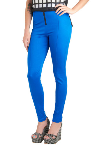 Future Endeavors Pants by Motel - Blue, Solid, Exposed zipper, Casual, Urban, High Waist, Skinny, Tis the Season Sale