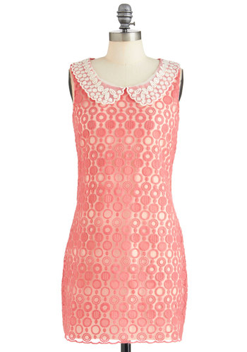 Garland Maker Dress - Pink, White, Polka Dots, Party, Sheath / Shift, Sleeveless, Mid-length, Mod, Pastel, Sheer, Collared, Daytime Party