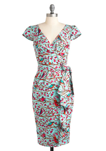 The Tweet-est Thing Dress - Blue, Multi, Print with Animals, Ruffles, Party, Sheath / Shift, Cap Sleeves, Long, Vintage Inspired, Pinup, Cotton, V Neck, 50s, 60s