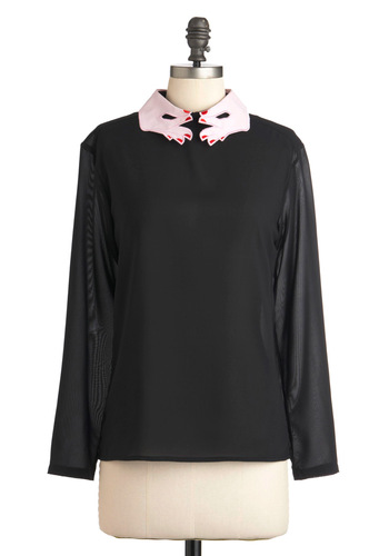 You Deserve a Hand Top - Black, Red, Pink, Long Sleeve, Mid-length, Solid, Party, Casual, Statement, Quirky, Girls Night Out, Sheer, Collared
