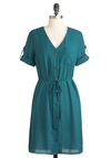 To Diner for Dress - Mid-length, Blue, Solid, Buttons, Casual, Shirt Dress, Short Sleeves, Pockets, Belted, Vintage Inspired, Button Down, V Neck, Work