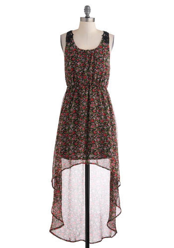 Garden Cinema Dress - Floral, Crochet, Casual, Sleeveless, Mid-length, Boho, Sheer, High-Low Hem, Multi, Red, Pink, Black, Scoop