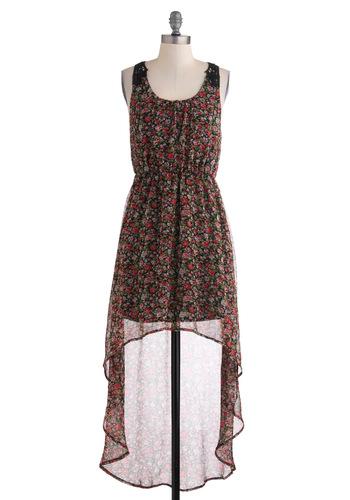 Garden Cinema Dress - Floral, Crochet, Casual, Sleeveless, Mid-length, Boho, Sheer, High-Low Hem, Multi, Red, Pink, Black, Scoop