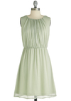 In Sage You Will Dress - Mid-length, Green, Solid, Sleeveless, Ruching, Pleats, Party, A-line, Pastel, Cocktail, Chiffon, Mint, Summer