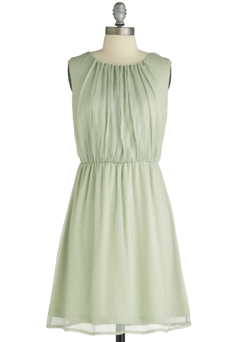 In Sage You Will Dress - Mid-length, Green, Solid, Sleeveless, Ruching, Pleats, Party, A-line, Pastel, Cocktail, Chiffon, Mint