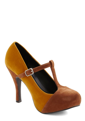 Meltaway We Go Heel - High, Platform, Yellow, Brown, Work, Fall, Faux Leather