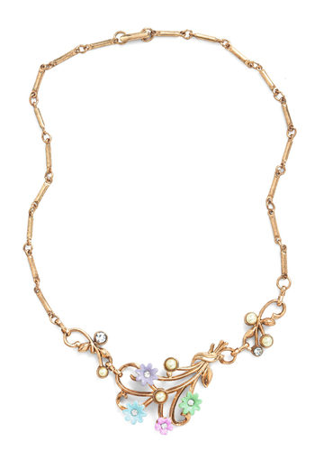 Grange Arrangement Necklace - Multi, Gold, Solid, Flower, Pearls, Rhinestones, Formal, Prom, Party, Vintage Inspired, Fairytale, Daytime Party, Press Placement, 50s