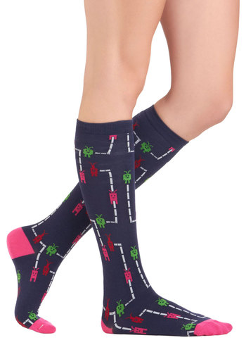 Game Room Royalty Socks - Blue, Pink, Casual, Multi, Red, Green, White, Quirky