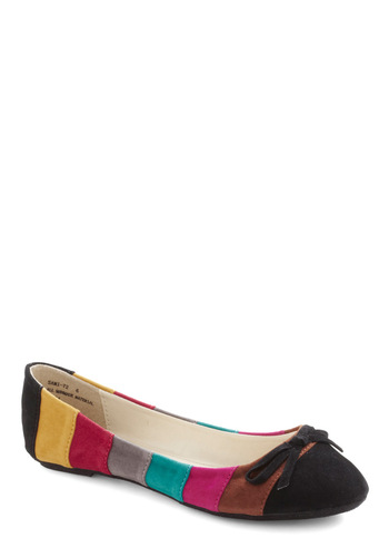 Hatch a Color Scheme Flat - Multi, Black, Stripes, Bows, Casual, 80s, Colorblocking, Fall, Faux Leather, Flat