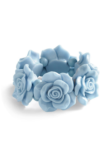 Rosette the Tone Bracelet - Blue, Cream, Solid, Flower, Statement, Pastel, Daytime Party, Variation, Graduation