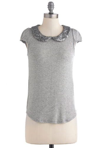 Dabble in Dazzling Top - Mid-length, Grey, Solid, Peter Pan Collar, Sequins, Short Sleeves, Casual, Glitter, Jersey