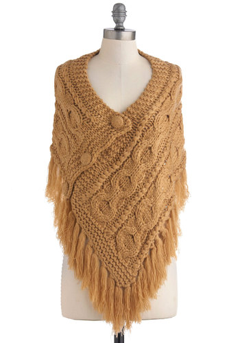 Shawl On Me Sweater - Tan, Solid, Knitted, Casual, Folk Art, Rustic, Mid-length