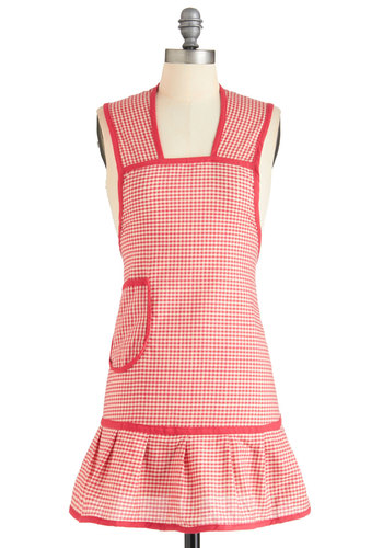 Barbe-cute as Can Be Apron - Red, White, Checkered / Gingham, Vintage Inspired