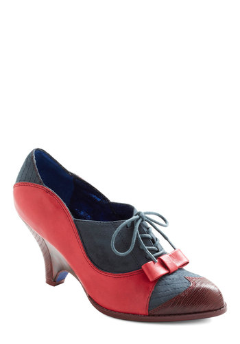 Turnstile Maven Heel by Poetic License - Red, Blue, Bows, Work, Vintage Inspired, 30s, 40s, Fall, Scholastic/Collegiate, Leather, Lace Up, Mid, 20s