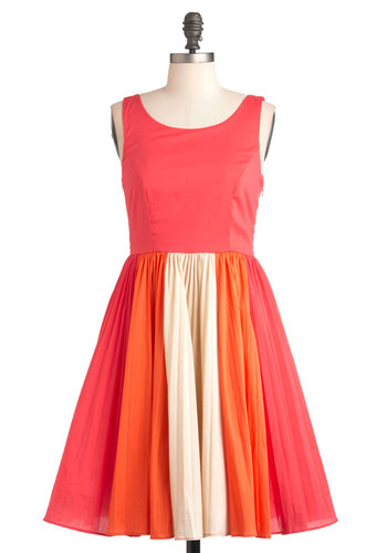 Cafe Romance Dress - Mid-length, Multi, Orange, Pink, Tan / Cream, Party, Vintage Inspired, 50s, Sleeveless, Summer, Buttons, Fit & Flare, Colorblocking, Exclusives, Cocktail, Coral