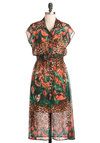 Safari Me Sassy Dress - Long, Multi, Multi, Floral, Animal Print, Casual, Statement, Shirt Dress, Short Sleeves, Sheer, Button Down, Collared, High-Low Hem, Beach/Resort
