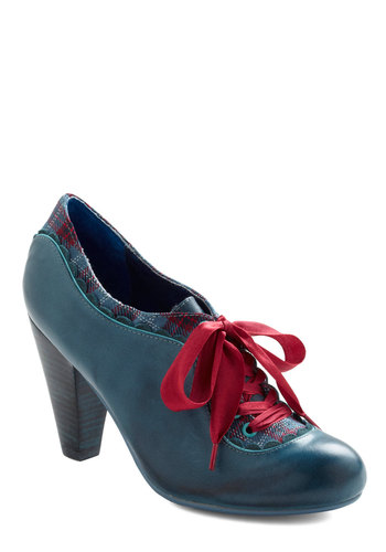 The Estate of Things Heel in Blue by Poetic License - Blue, Red, Plaid, Scallops, Trim, Work, 30s, 40s, Vintage Inspired, Fall, Steampunk, Scholastic/Collegiate, Leather, Lace Up, Mid, 20s, Tis the Season Sale, Variation, Folk Art