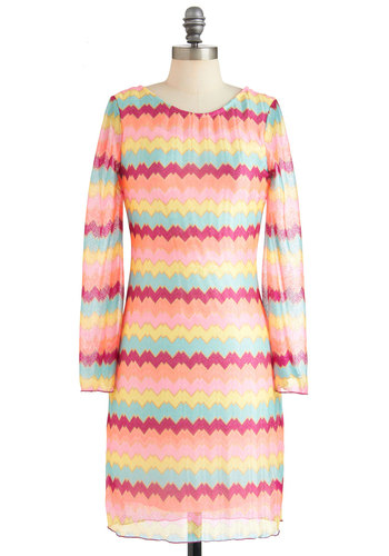 She's Eclectic Dress - Mid-length, Multi, Pink, Multi, 60s, Shift, Long Sleeve, Print, Party, Spring, 90s, Pastel, Sheer, Tis the Season Sale