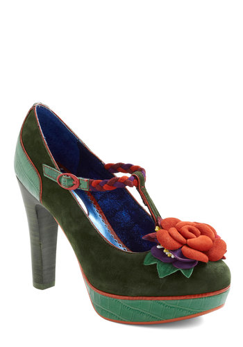 Cultivating Creativity Heel by Poetic License - Green, Orange, Braided, Flower, Trim, Party, Statement, Purple, Solid, Fall, Cocktail, High, Strappy, Leather, Special Occasion