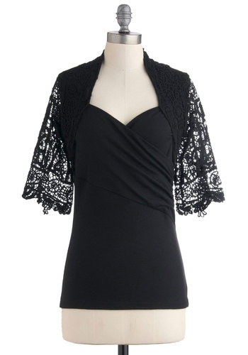 Chic Mystique Top - Black, Solid, Lace, Short Sleeves, Mid-length, Party, Film Noir, Sheer, Sweetheart