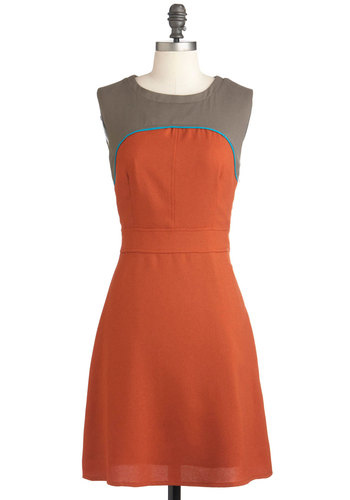 Silt the One Dress - Orange, Work, A-line, Sleeveless, Mid-length, Brown, Colorblocking, Fit & Flare
