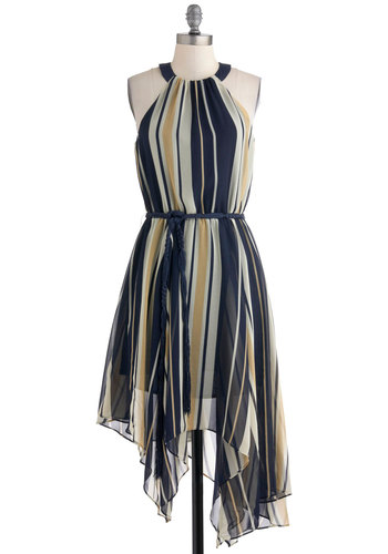 Remodeling Debut Dress - Stripes, Party, A-line, Halter, Belted, Mid-length, Multi, Blue, Tan / Cream, 70s, Sheer