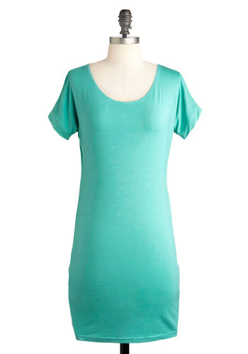 Creamy Mint on the Andes Dress - Green, Solid, Casual, Shift, Short Sleeves, Short, Mint, Minimal