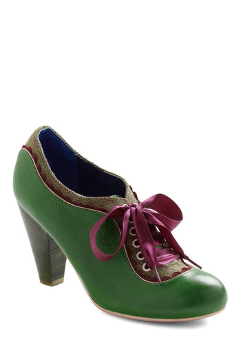 The Estate of Things Heel in Green by Poetic License - Green, Purple, Brown, Herringbone, Scallops, Trim, Work, 30s, Vintage Inspired, Steampunk, Variation