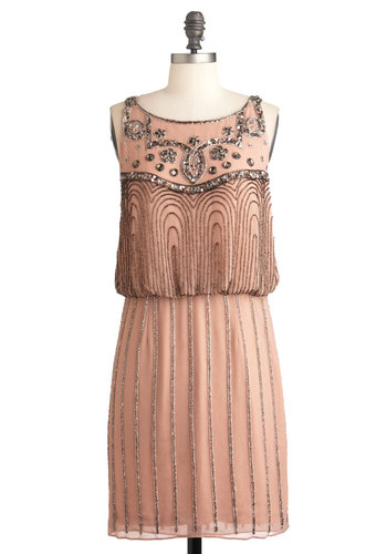 A Friend in Beads Dress - Mid-length, Pink, Solid, Beads, Party, Vintage Inspired, 20s, Sleeveless, Sequins, Sheath / Shift, Luxe, Glitter, Cocktail, Holiday Party, Boat, French / Victorian