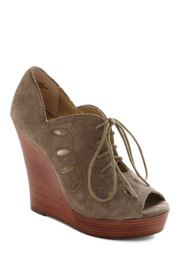 Harbor Hideaway Wedge by BC Shoes - Wedge, Grey, Brown, Solid, Cutout, Casual