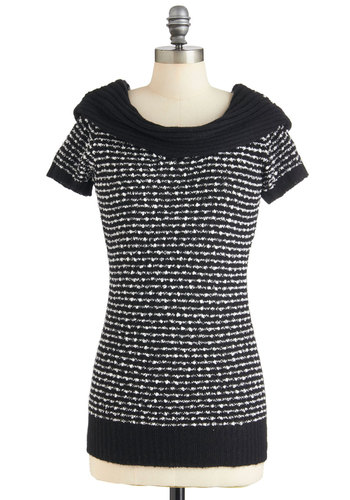 Seat at the Seminar Tunic by Tulle Clothing - White, Knitted, Casual, Short Sleeves, Black, Stripes, Fall, Long
