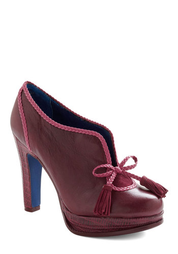Regal Proceedings Heel by Poetic License - Red, Pink, Bows, Braided, Tassles, Trim, Work, Cocktail, Vintage Inspired, 40s, Luxe, Leather, Platform, High