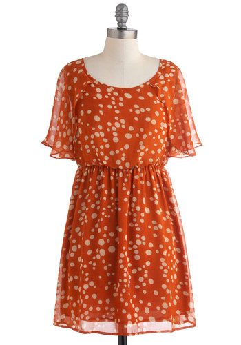 Shawl We Dance? Dress - Orange, Tan / Cream, Polka Dots, Casual, A-line, Short Sleeves, Short