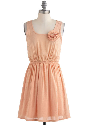 Raindrops on Rose Petals Dress - Short, Pink, Solid, Flower, Party, Vintage Inspired, A-line, Sleeveless, Summer, Pastel, Orange