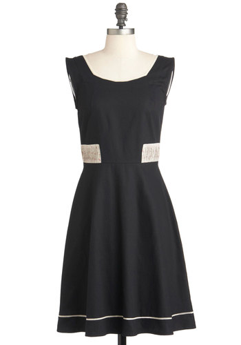 Book Artist Dress by Mata Traders - Mid-length, Black, Tan / Cream, Solid, Vintage Inspired, A-line, Sleeveless, Pleats, Casual, Cocktail, Cotton, Fit & Flare