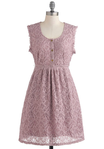 Orchid I Join You? Dress by Tulle Clothing - Short, Lace, Vintage Inspired, Sleeveless, French / Victorian, Purple, Floral, Buttons, Pastel, Pockets, Daytime Party, A-line